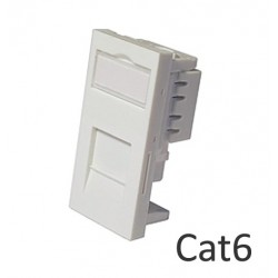 Cat6 shuttered euro network module RJ45 - low profile LP-MODC6
