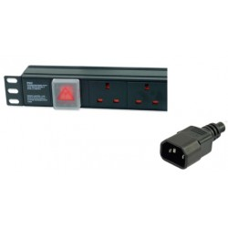 PDU 6-way horizontal IEC C14 plug - UK sockets surge protected