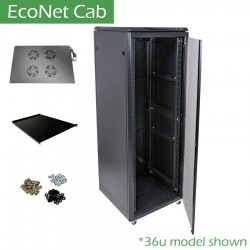 27u 600x600 EcoNet Cab data comms rack cabinet network patching CAB-FE-27U-66