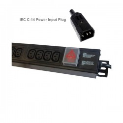 PDU 8-way vertical IEC C14 plug - IEC C13 sockets surge protected