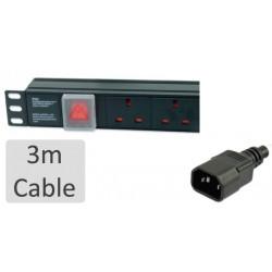 UPS extension lead  3m 6-way horizontal IEC C14 plug - UK sockets surge protected